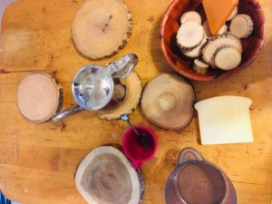 Tea set and wooden disc coasters