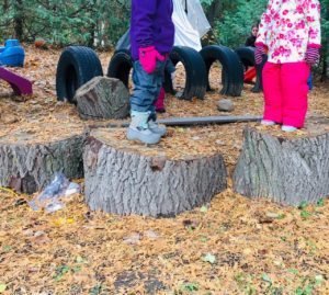 Children balancing on tree stumps