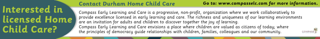 "Ad that says ""Interested in licensed Home Child Care?""."